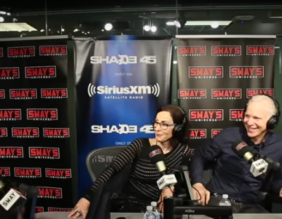 Chris Redlitz, Beverly Parenti, and Kenyatta Leal laughing while being interviewed by Sway Calloway on Sirius XM radio.