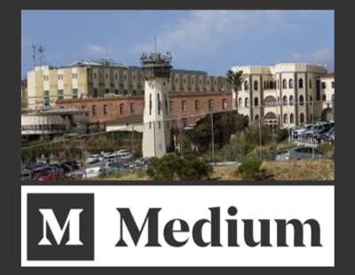 Medium logo below image of San Quentin.